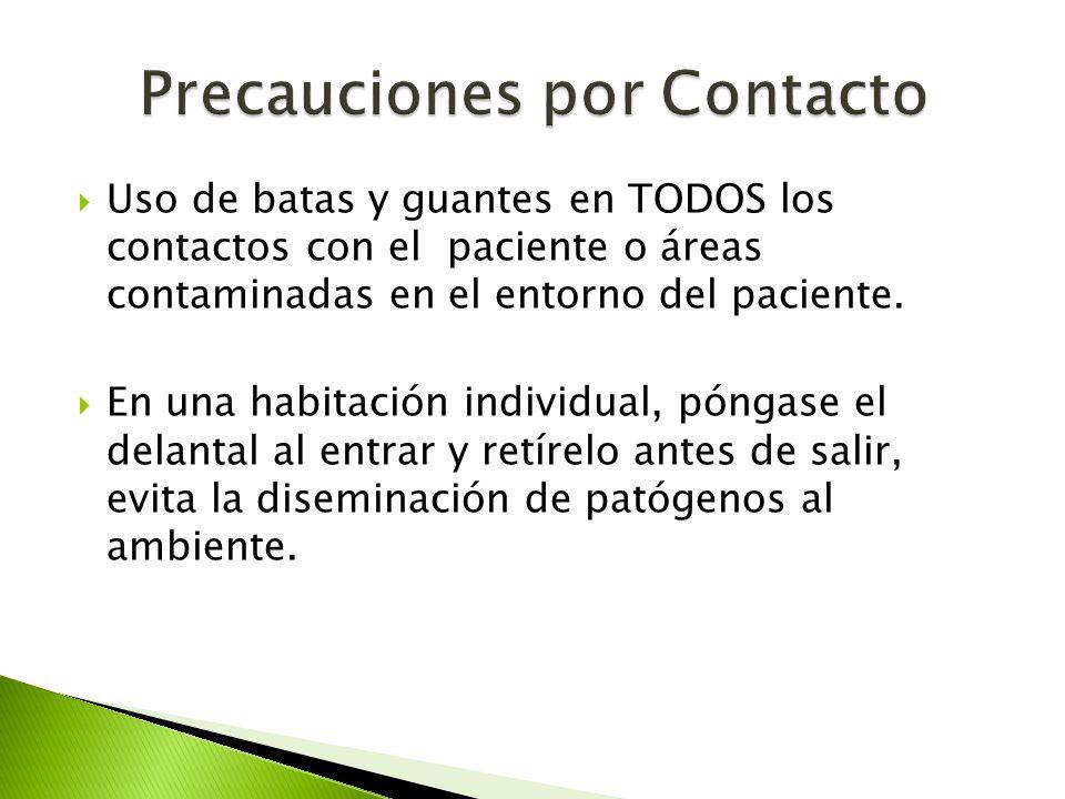  Uso de batas y guantes en TODOS los contactos con el paciente o áreas contaminadas en el entorno del paciente.  En una habitación individual, pónga