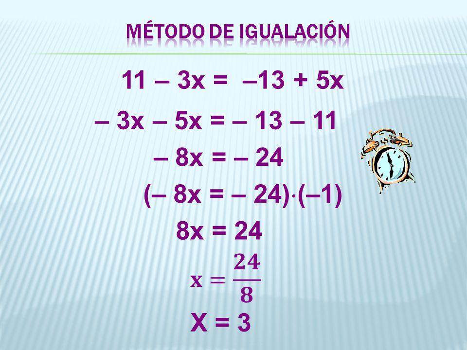X = 3 11 – 3x = –13 + 5x 8x = 24 – 3x – 5x = – 13 – 11 – 8x = – 24 (– 8x = – 24)  (–1)