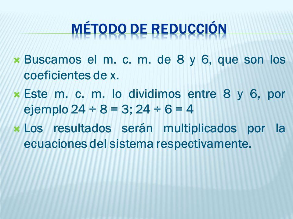  Buscamos el m.c. m. de 8 y 6, que son los coeficientes de x.