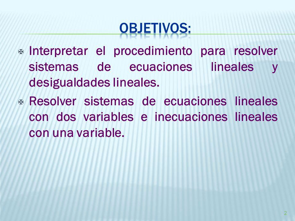  Interpretar el procedimiento para resolver sistemas de ecuaciones lineales y desigualdades lineales.