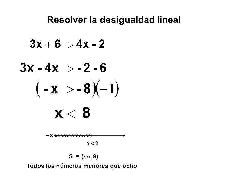 S = (- , 8) Todos los números menores que ocho. Resolver la desigualdad lineal