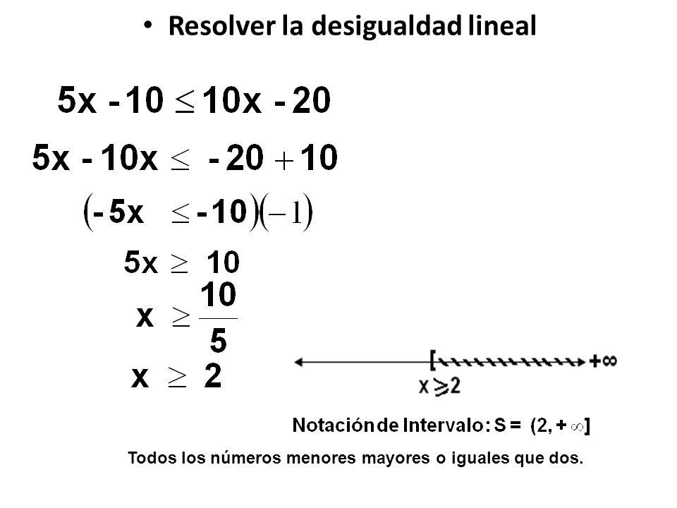 Todos los números menores mayores o iguales que dos.