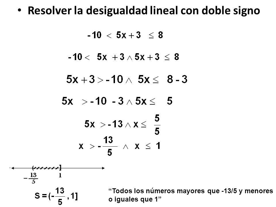 Resolver la desigualdad lineal con doble signo Todos los números mayores que -13/5 y menores o iguales que 1