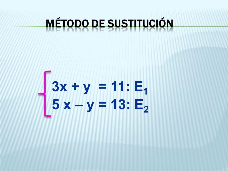 3x + y = 11: E 1 5 x – y = 13: E 2