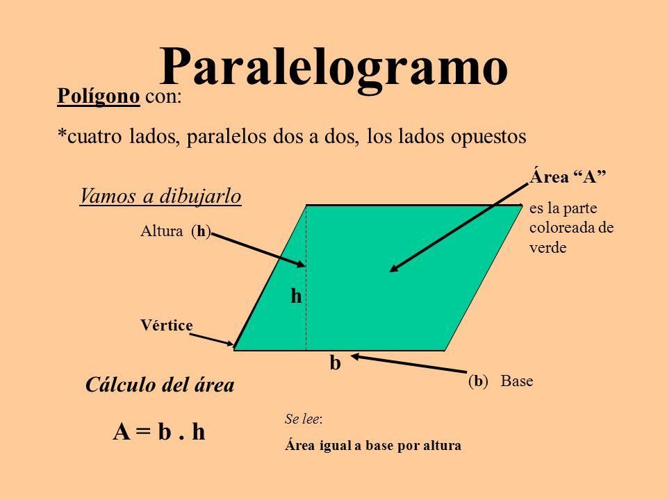 Paralelogramo Polígono con: *cuatro lados, paralelos dos a dos, los lados opuestos Vamos a dibujarlo Vértice Altura (h) Área A es la parte coloreada de verde Cálculo del área A = b.