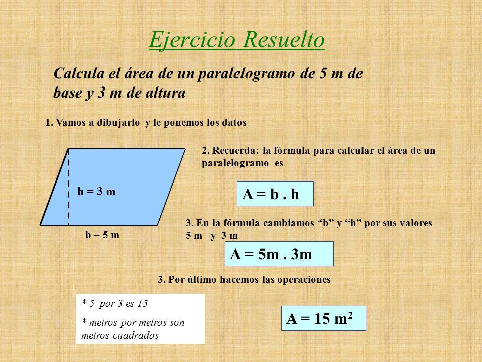 Ejercicio Resuelto Calcula el área de un paralelogramo de 5 m base y 3 m de altura 1.