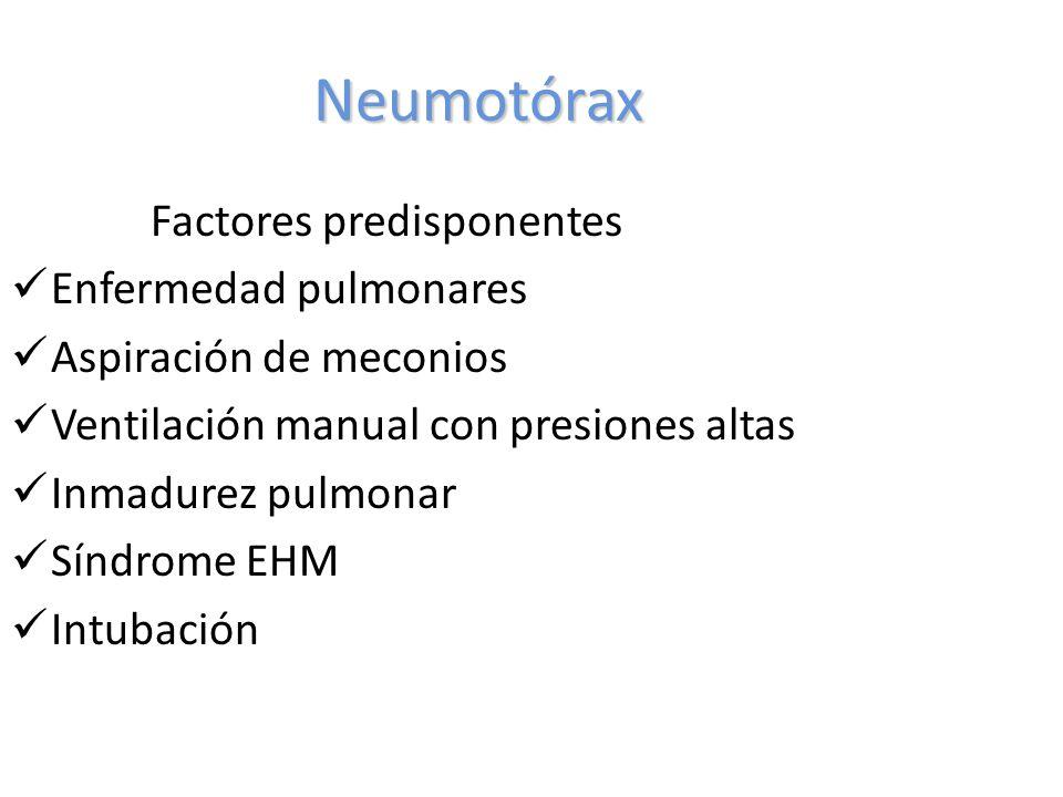 Neumotórax Factores predisponentes Enfermedad pulmonares Aspiración de meconios Ventilación manual con presiones altas Inmadurez pulmonar Síndrome EHM Intubación