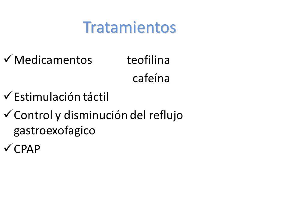 Tratamientos Medicamentos teofilina cafeína Estimulación táctil Control y disminución del reflujo gastroexofagico CPAP