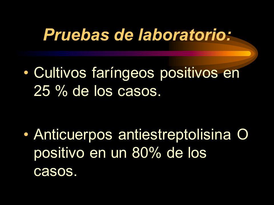 Pruebas de laboratorio: Cultivos faríngeos positivos en 25 % de los casos.