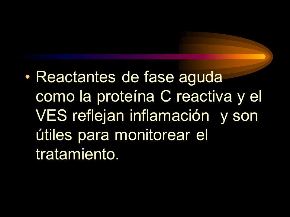 Reactantes de fase aguda como la proteína C reactiva y el VES reflejan inflamación y son útiles para monitorear el tratamiento.