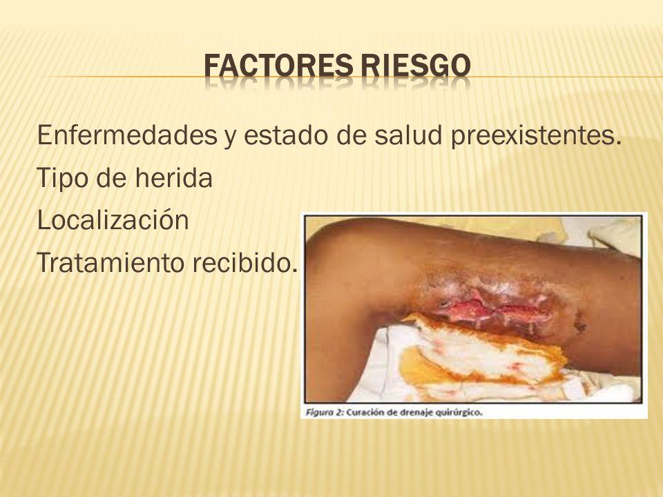 Enfermedades y estado de salud preexistentes. Tipo de herida Localización Tratamiento recibido.