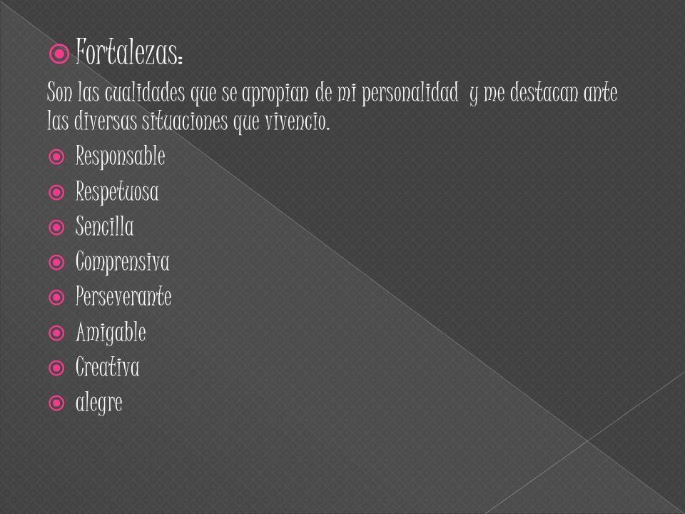  Fortalezas: Son las cualidades que se apropian de mi personalidad y me destacan ante las diversas situaciones que vivencio.