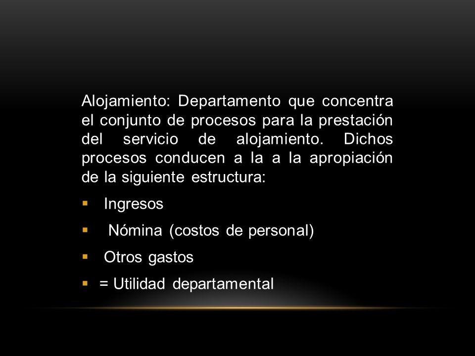 Alojamiento: Departamento que concentra el conjunto de procesos para la prestación del servicio de alojamiento.