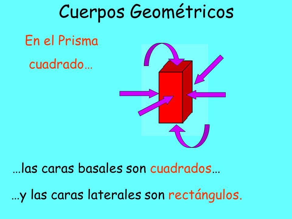 Cuerpos Geométricos …las caras basales son triángulos… …y las caras laterales son rectángulos.