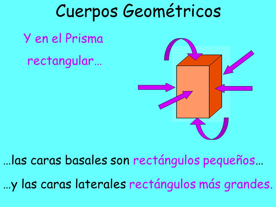 Cuerpos Geométricos …las caras basales son cuadrados… En el Prisma cuadrado… …y las caras laterales son rectángulos.