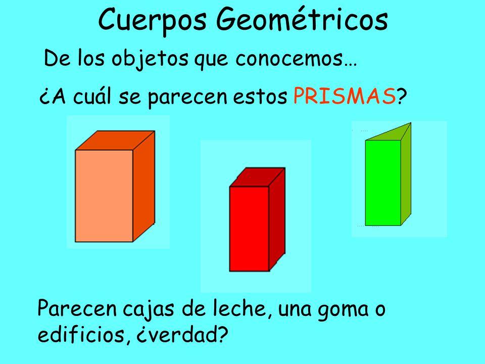Cuerpos Geométricos Dentro de los cuerpos geométricos existen los PRISMAS Nosotros conoceremos los siguientes…