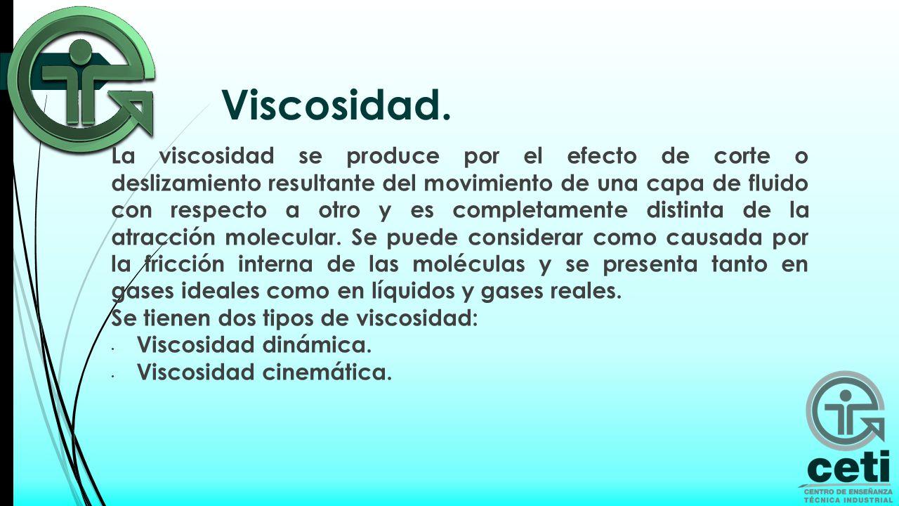 La viscosidad absoluta (o dinámica) es una propiedad de los fluidos que indica la mayor o menor resistencia que ofrecen al movimiento de sus partículas cuando son sometidos a un esfuerzo cortante.
