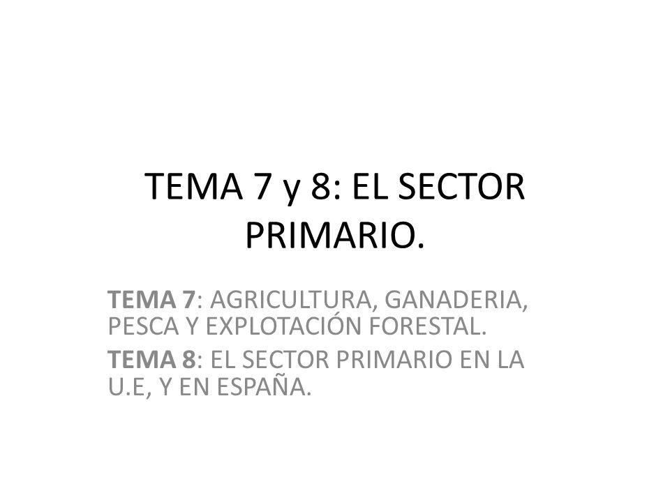 TEMA 7 y 8: EL SECTOR PRIMARIO.TEMA 7: AGRICULTURA, GANADERIA, PESCA Y EXPLOTACIÓN FORESTAL.