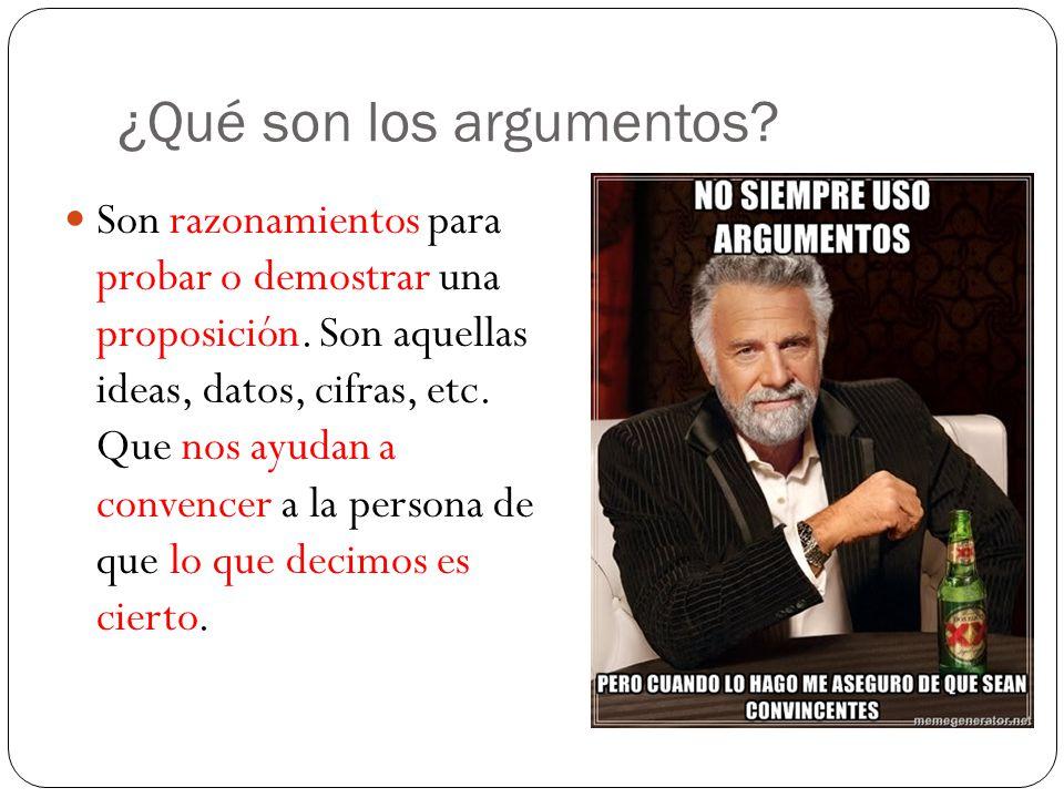 ¿Qué son los argumentos.Son razonamientos para probar o demostrar una proposición.