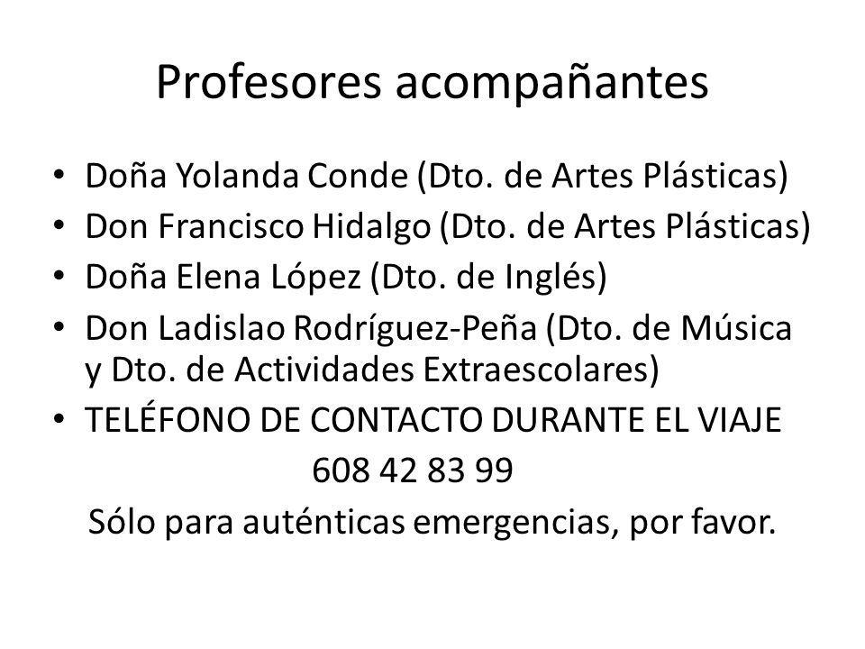 Profesores acompañantes Doña Yolanda Conde (Dto.de Artes Plásticas) Don Francisco Hidalgo (Dto.