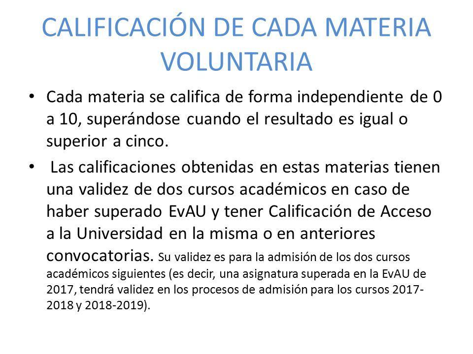 CALIFICACIÓN DE CADA MATERIA VOLUNTARIA Cada materia se califica de forma independiente de 0 a 10, superándose cuando el resultado es igual o superior a cinco.