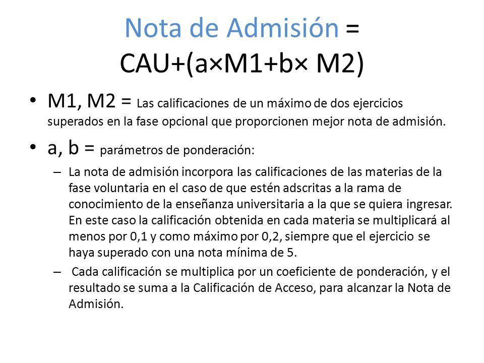Nota de Admisión = CAU+(a×M1+b× M2) M1, M2 = Las calificaciones de un máximo de dos ejercicios superados en la fase opcional que proporcionen mejor nota de admisión.