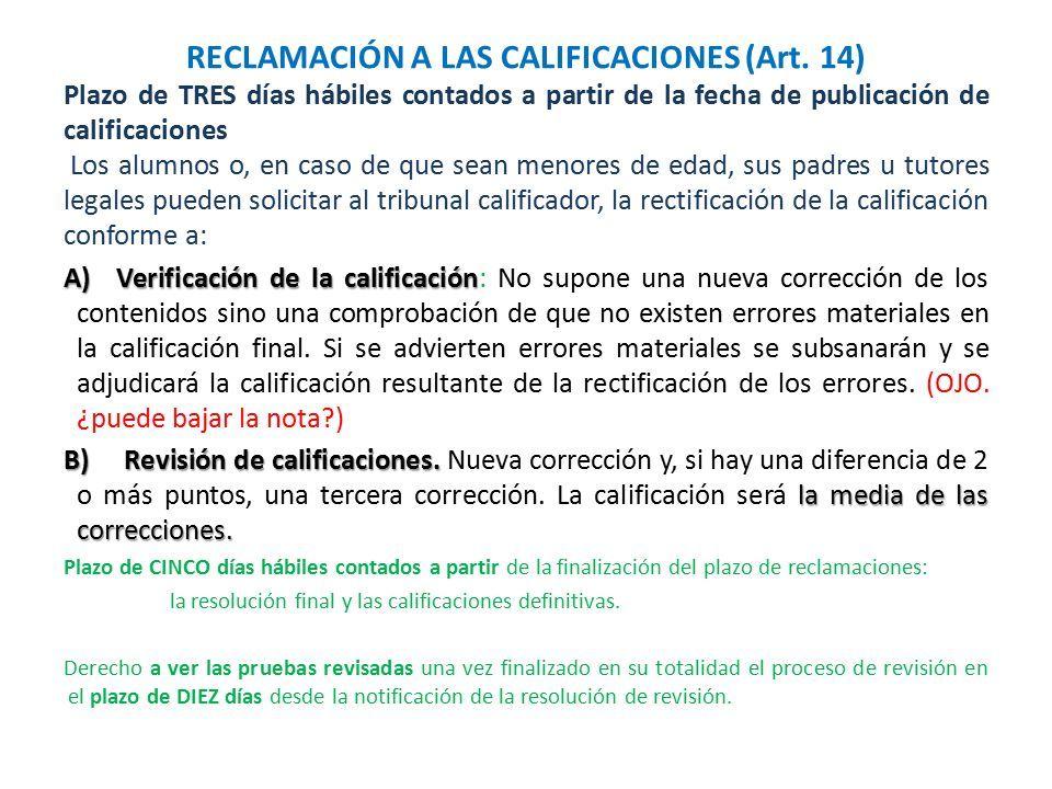 RECLAMACIÓN A LAS CALIFICACIONES (Art.