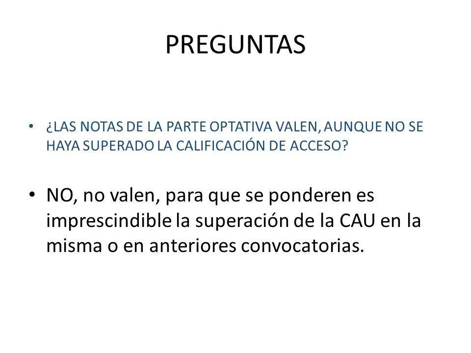 PREGUNTAS ¿LAS NOTAS DE LA PARTE OPTATIVA VALEN, AUNQUE NO SE HAYA SUPERADO LA CALIFICACIÓN DE ACCESO.
