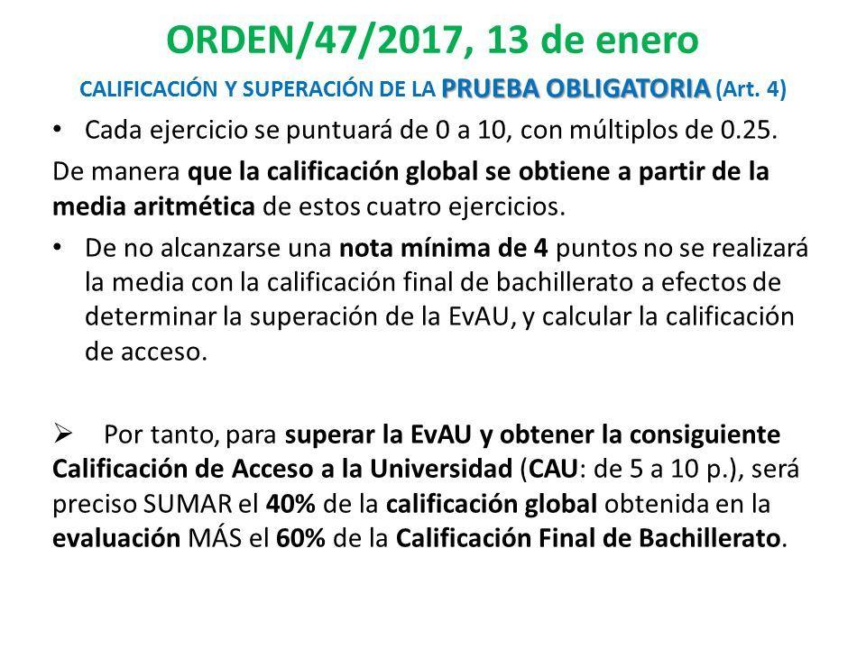 ORDEN/47/2017, 13 de enero PRUEBA OBLIGATORIA CALIFICACIÓN Y SUPERACIÓN DE LA PRUEBA OBLIGATORIA (Art.
