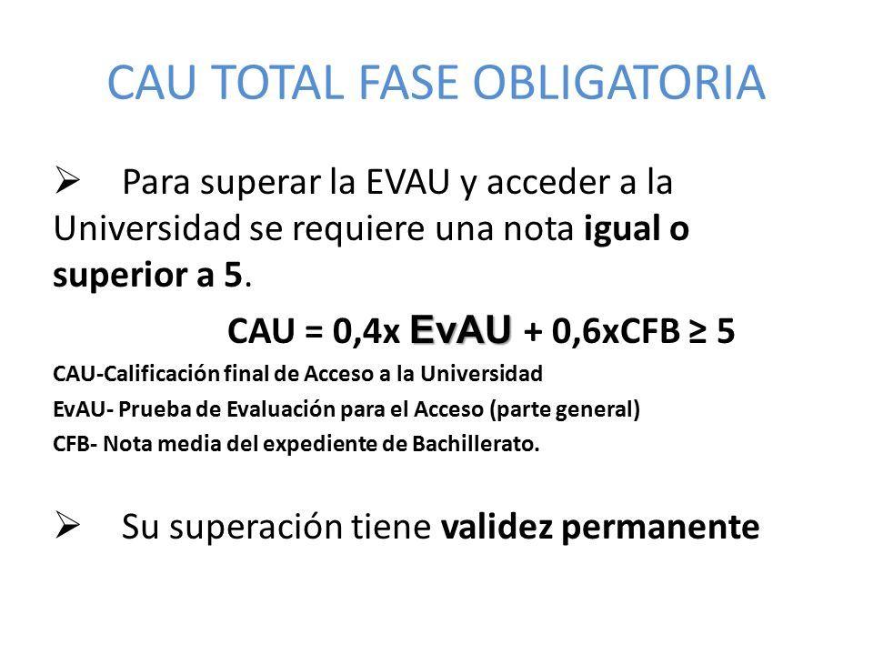 CAU TOTAL FASE OBLIGATORIA  Para superar la EVAU y acceder a la Universidad se requiere una nota igual o superior a 5.