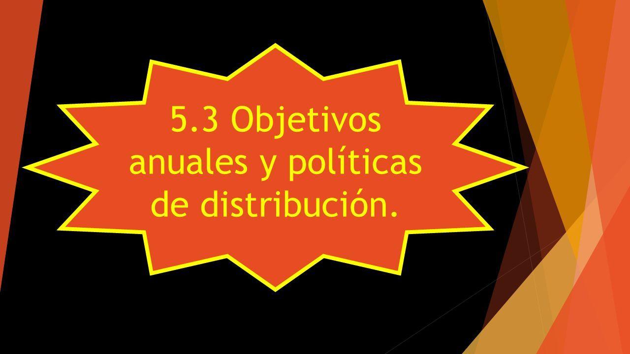 5.3 Objetivos anuales y políticas de distribución.