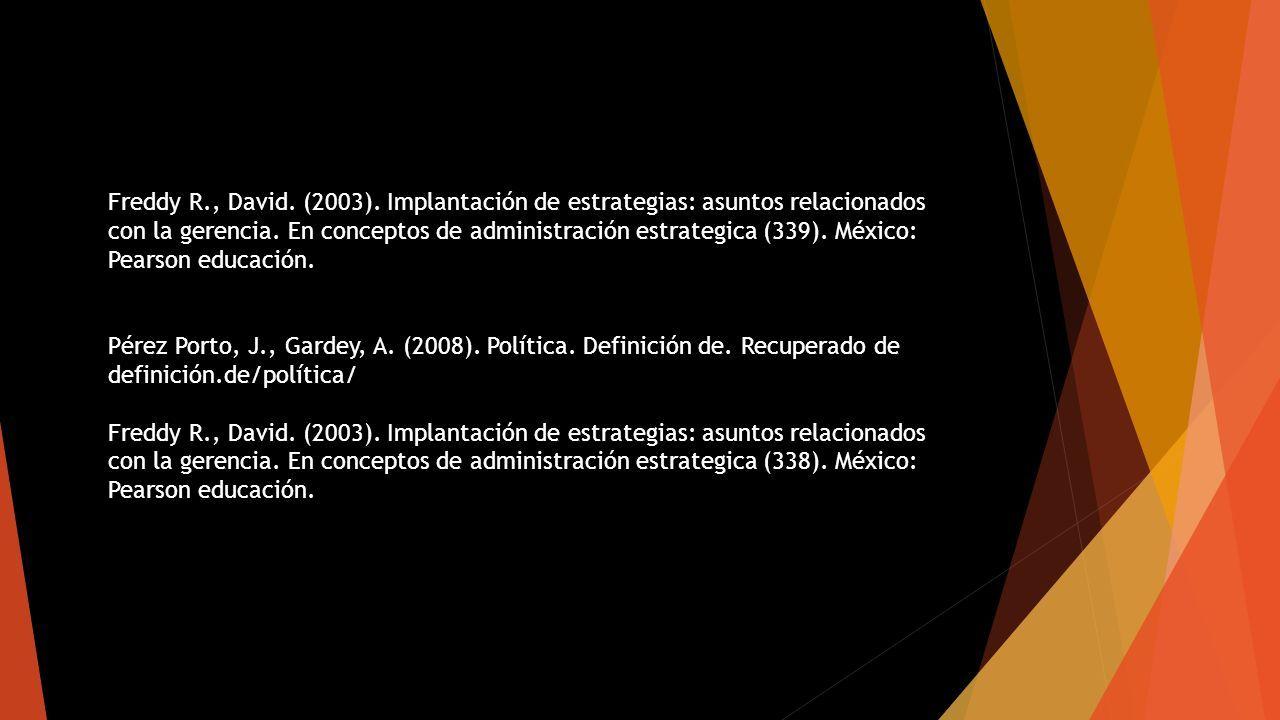 Freddy R., David. (2003). Implantación de estrategias: asuntos relacionados con la gerencia.
