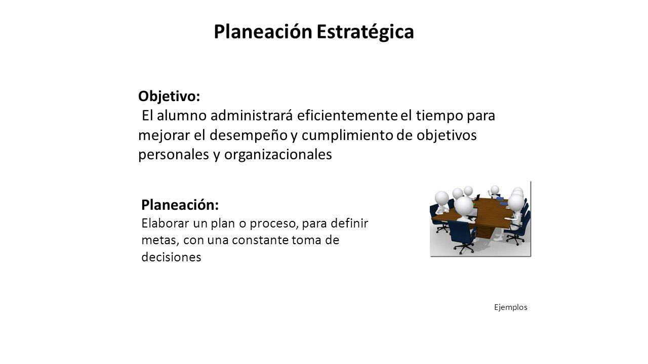 PLANEACION Y ORGANIZACIÓN DEL TRABAJO Objetivo El alumno ...