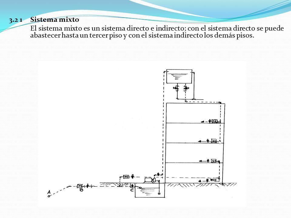 3.2 1 Sistema mixto El sistema mixto es un sistema directo e indirecto; con el sistema directo se puede abastecer hasta un tercer piso y con el sistema indirecto los demás pisos.