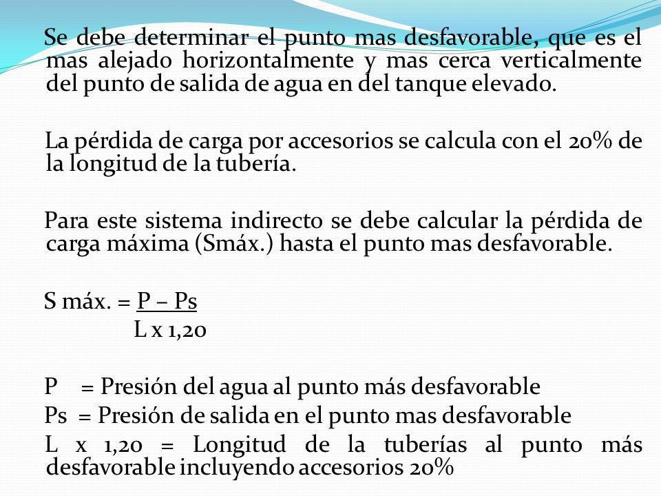 Se debe determinar el punto mas desfavorable, que es el mas alejado horizontalmente y mas cerca verticalmente del punto de salida de agua en del tanque elevado.