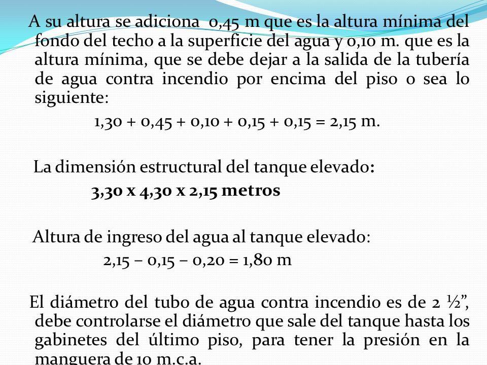 A su altura se adiciona 0,45 m que es la altura mínima del fondo del techo a la superficie del agua y 0,10 m.
