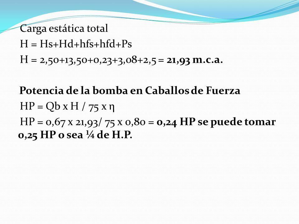 Carga estática total H = Hs+Hd+hfs+hfd+Ps H = 2,50+13,50+0,23+3,08+2,5 = 21,93 m.c.a.