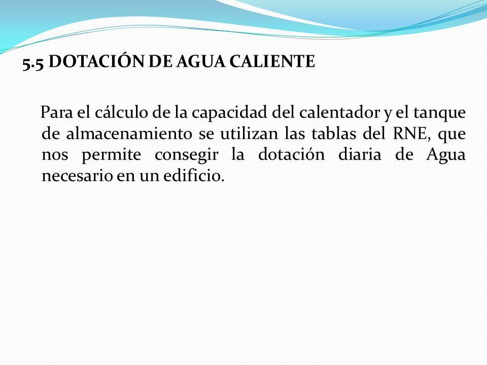 5.5 DOTACIÓN DE AGUA CALIENTE Para el cálculo de la capacidad del calentador y el tanque de almacenamiento se utilizan las tablas del RNE, que nos permite consegir la dotación diaria de Agua necesario en un edificio.