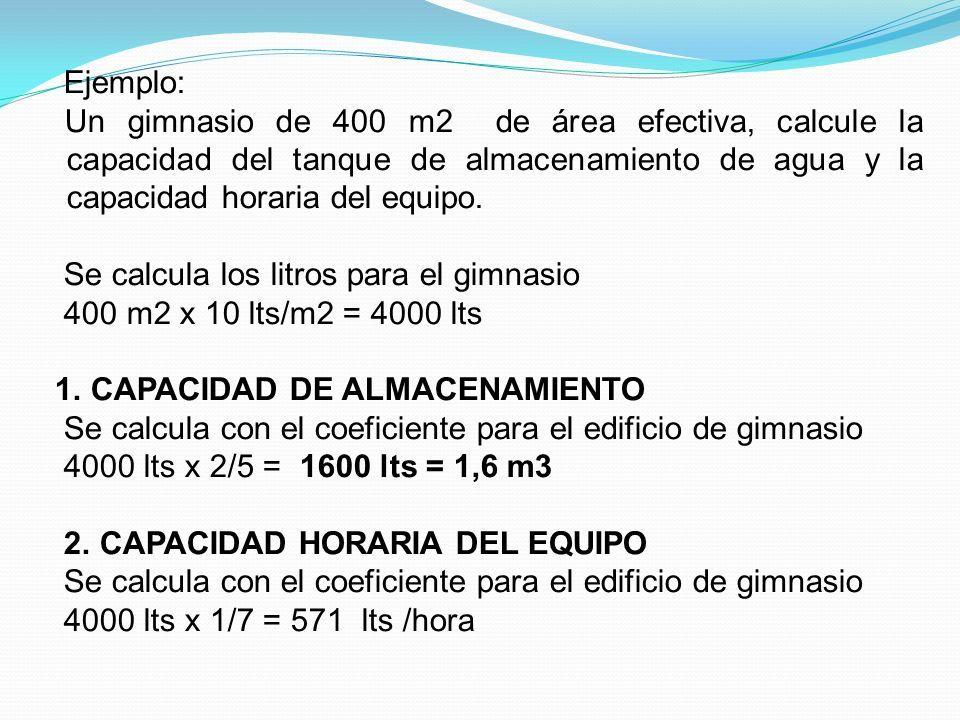 Ejemplo: Un gimnasio de 400 m2 de área efectiva, calcule la capacidad del tanque de almacenamiento de agua y la capacidad horaria del equipo.
