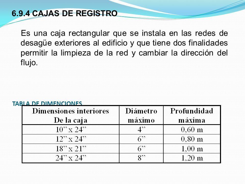 TABLA DE DIMENCIONES 6.9.4 CAJAS DE REGISTRO Es una caja rectangular que se instala en las redes de desagüe exteriores al edificio y que tiene dos finalidades permitir la limpieza de la red y cambiar la dirección del flujo.
