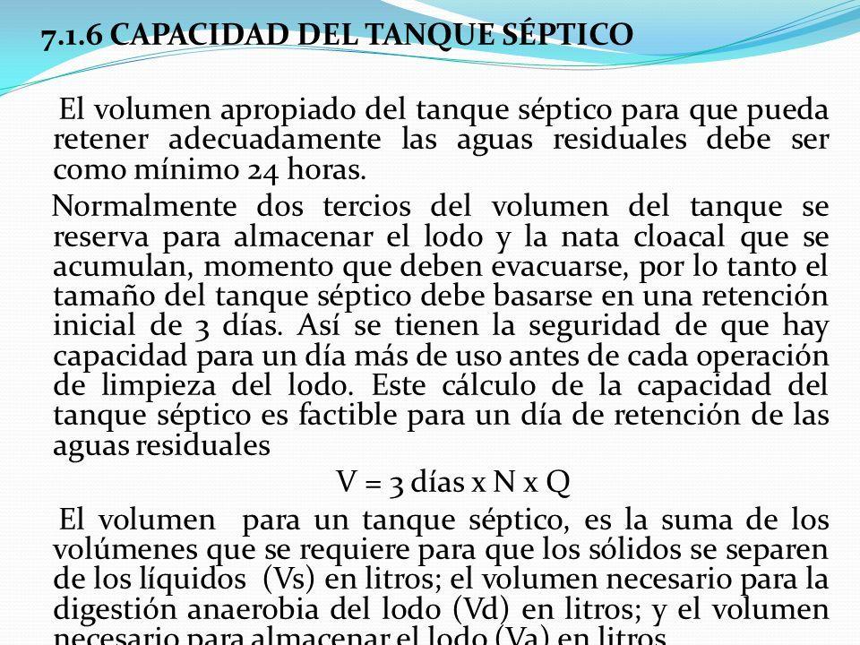 7.1.6 CAPACIDAD DEL TANQUE SÉPTICO El volumen apropiado del tanque séptico para que pueda retener adecuadamente las aguas residuales debe ser como mínimo 24 horas.