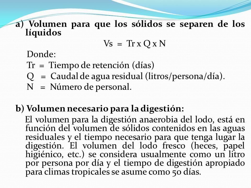 a) Volumen para que los sólidos se separen de los líquidos Vs = Tr x Q x N Donde: Tr = Tiempo de retención (días) Q = Caudal de agua residual (litros/persona/día).