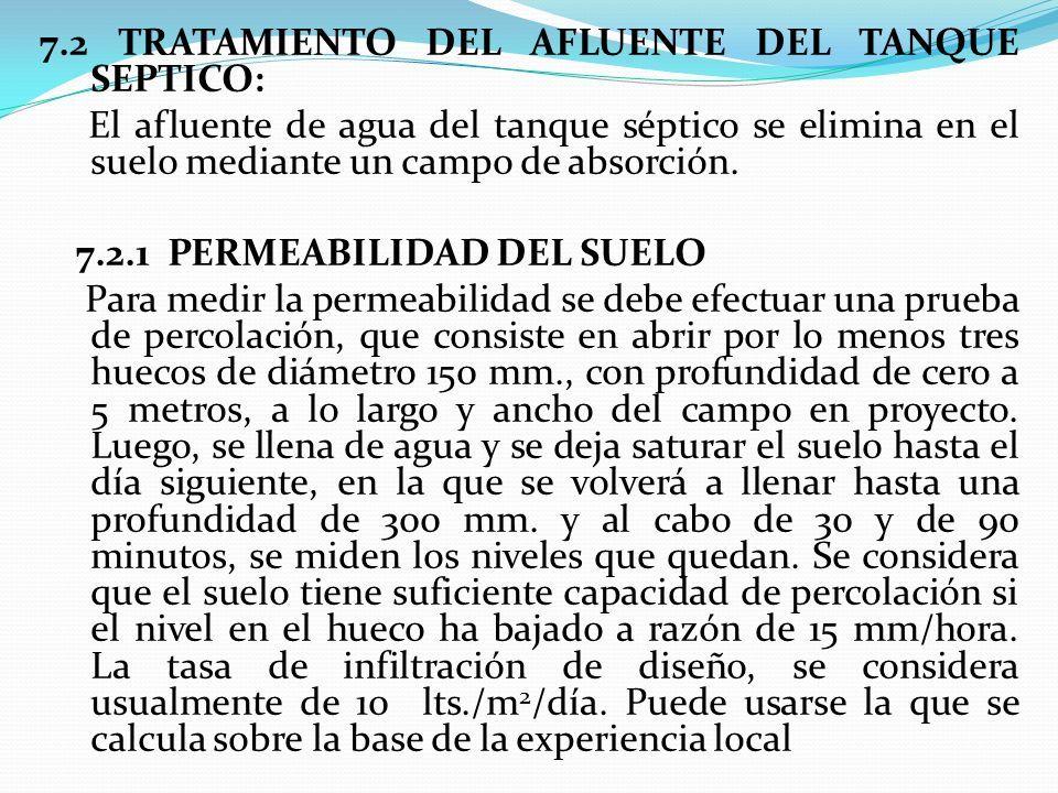 7.2 TRATAMIENTO DEL AFLUENTE DEL TANQUE SEPTICO: El afluente de agua del tanque séptico se elimina en el suelo mediante un campo de absorción.