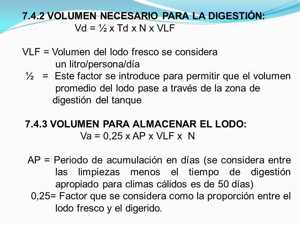 7.4.2 VOLUMEN NECESARIO PARA LA DIGESTIÓN: Vd = ½ x Td x N x VLF VLF = Volumen del lodo fresco se considera un litro/persona/día ½ = Este factor se introduce para permitir que el volumen promedio del lodo pase a través de la zona de digestión del tanque 7.4.3 VOLUMEN PARA ALMACENAR EL LODO: Va = 0,25 x AP x VLF x N AP = Periodo de acumulación en días (se considera entre las limpiezas menos el tiempo de digestión apropiado para climas cálidos es de 50 días) 0,25= Factor que se considera como la proporción entre el lodo fresco y el digerido.