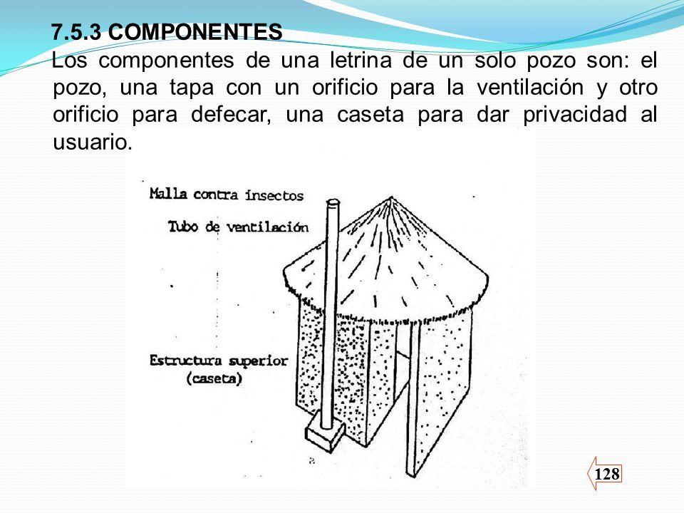 128 7.5.3 COMPONENTES Los componentes de una letrina de un solo pozo son: el pozo, una tapa con un orificio para la ventilación y otro orificio para defecar, una caseta para dar privacidad al usuario.