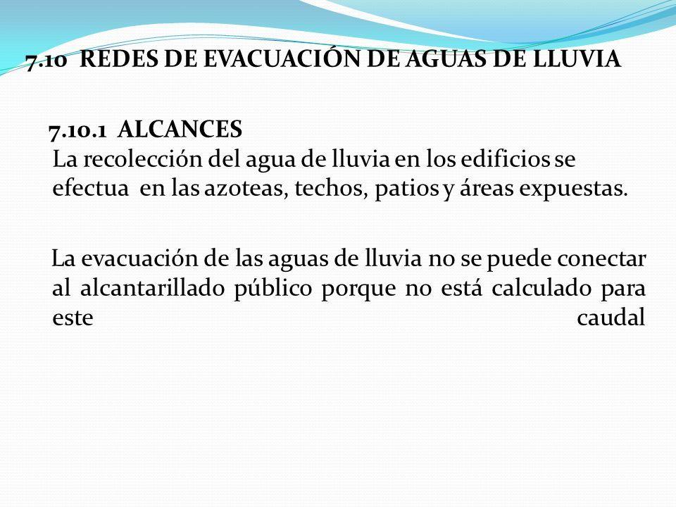 7.10 REDES DE EVACUACIÓN DE AGUAS DE LLUVIA 7.10.1 ALCANCES La recolección del agua de lluvia en los edificios se efectua en las azoteas, techos, patios y áreas expuestas.