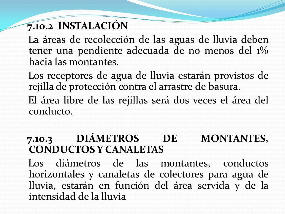 7.10.2 INSTALACIÓN La áreas de recolección de las aguas de lluvia deben tener una pendiente adecuada de no menos del 1% hacia las montantes.