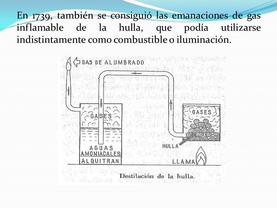 En 1739, también se consiguió las emanaciones de gas inflamable de la hulla, que podía utilizarse indistintamente como combustible o iluminación.