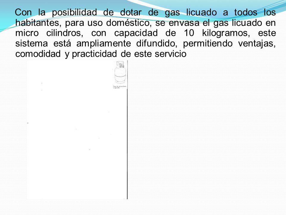 Con la posibilidad de dotar de gas licuado a todos los habitantes, para uso doméstico, se envasa el gas licuado en micro cilindros, con capacidad de 10 kilogramos, este sistema está ampliamente difundido, permitiendo ventajas, comodidad y practicidad de este servicio