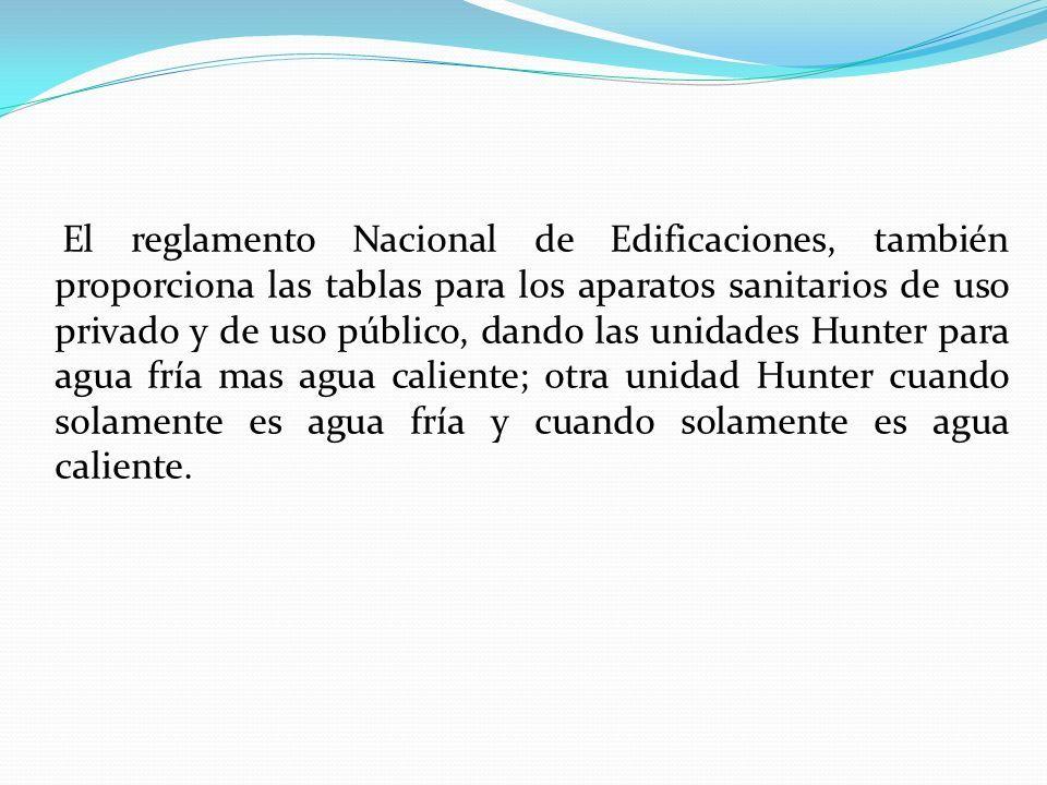 El reglamento Nacional de Edificaciones, también proporciona las tablas para los aparatos sanitarios de uso privado y de uso público, dando las unidades Hunter para agua fría mas agua caliente; otra unidad Hunter cuando solamente es agua fría y cuando solamente es agua caliente.